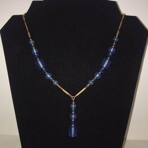 Vintage Simmons Blue Glass Necklace